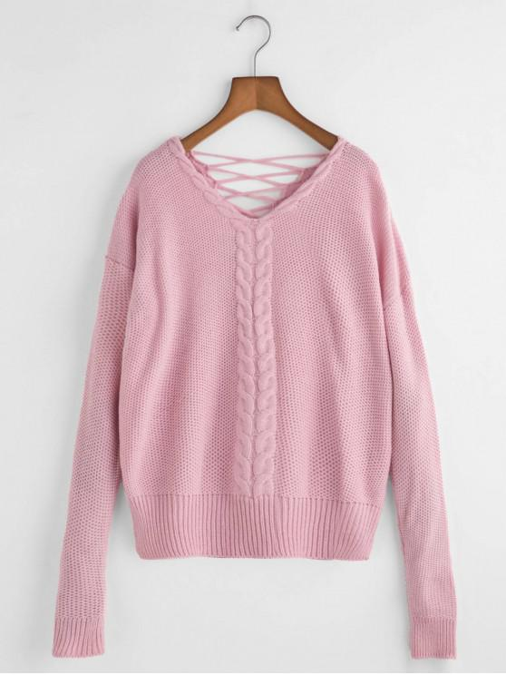 women V Neck Cable Knit Lattice Back Sweater - PINK ONE SIZE