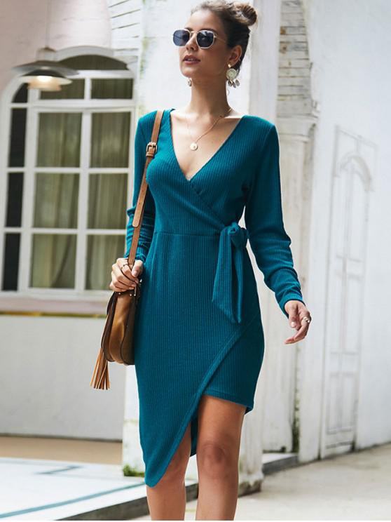 outfits V Neck Knotted Asymmetric Solid Dress - BLUE S