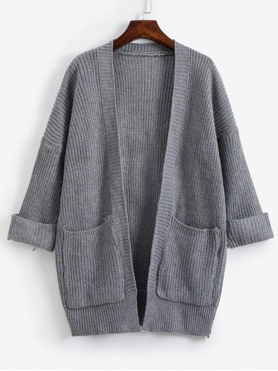 affordable Open Front Cuffed Sleeve Dual Pocket Cardigan - DARK GRAY ONE SIZE