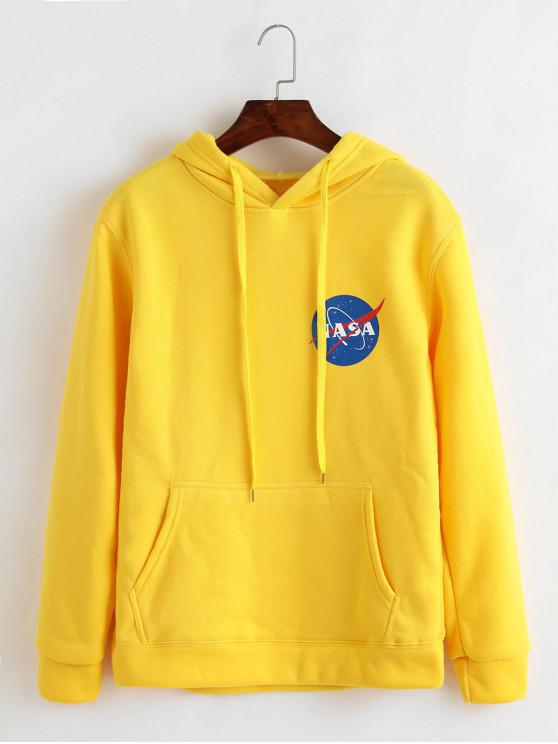 ladies Drawstring Front Pocket Planet Graphic Hoodie - YELLOW L