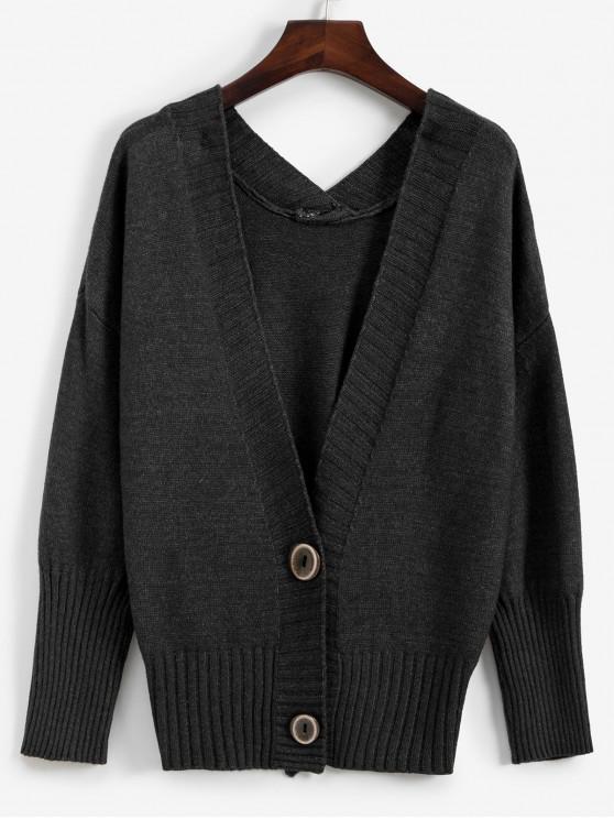 women's Drop Shoulder Button Front V Neck Cardigan - CARBON GRAY ONE SIZE