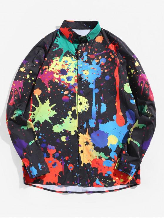 unique Painting Splatter Turn Down Collar Long Sleeve Shirt - BLACK 2XL