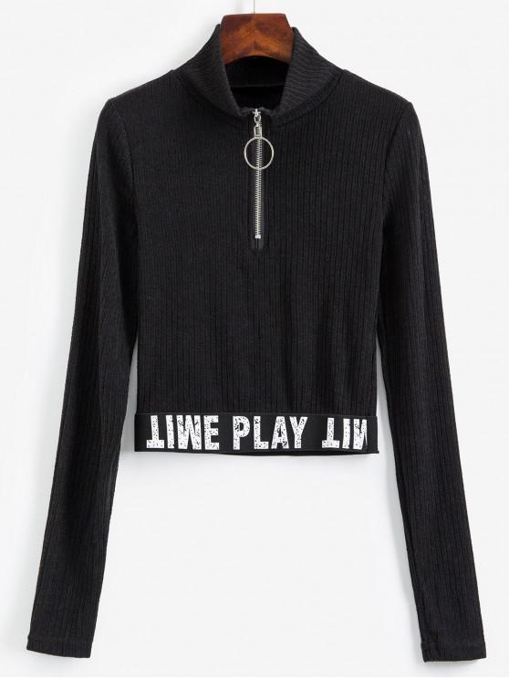 fancy Slogan Graphic Half Zip Ribbed Cropped Knitwear - BLACK M