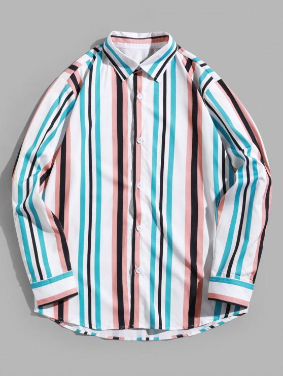 online Contrast Stripes Spliced Long Sleeve Shirt - MULTI S