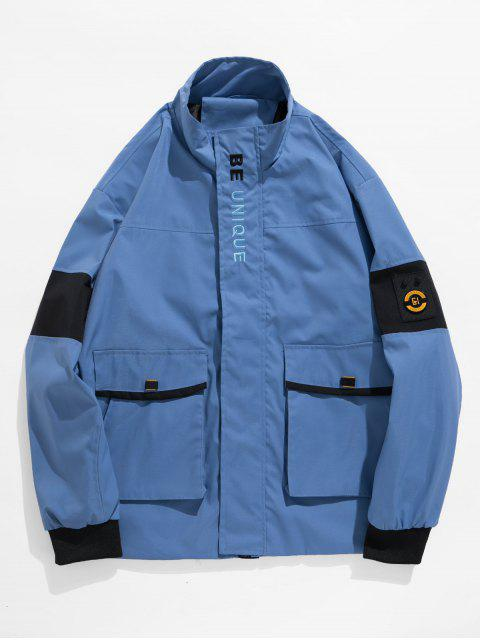 new Letter Graphic Embroidery Casual Jacket - LIGHT BLUE 2XL Mobile