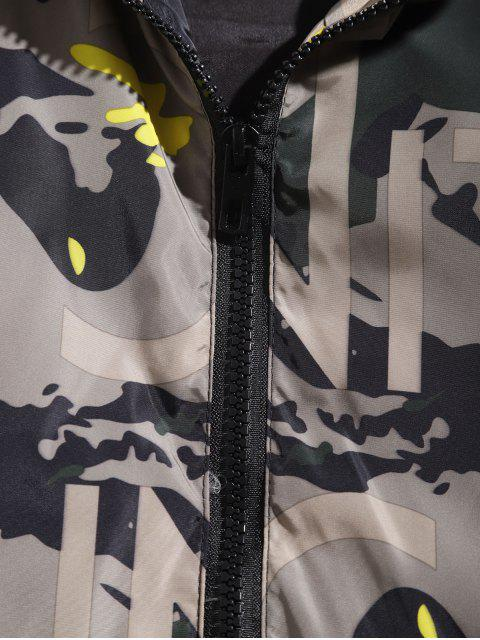 hot Camouflage Letter Print Zip Up Hooded Jacket - YELLOW L Mobile