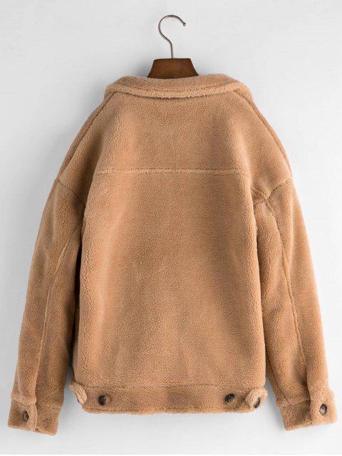 lady Pockets Button Up Fluffy Teddy Jacket - LIGHT KHAKI S Mobile
