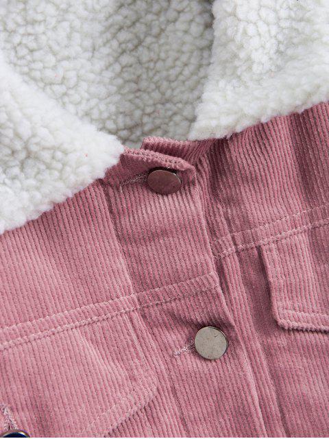 Veste Boutonnée avec Fausse Poche en Velours Côtelé - Rose  M Mobile