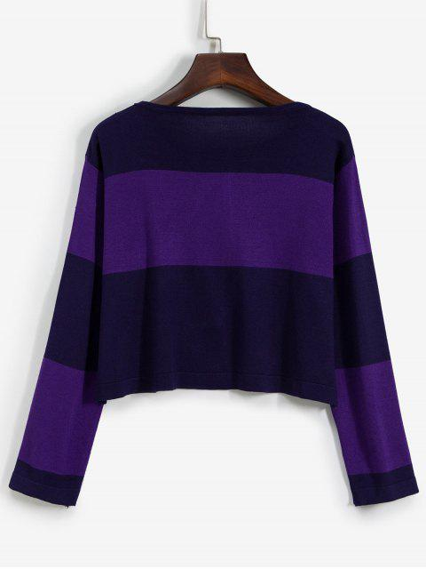 sale Pullover Colorblock Crew Neck Cropped Sweater - PURPLE ONE SIZE Mobile