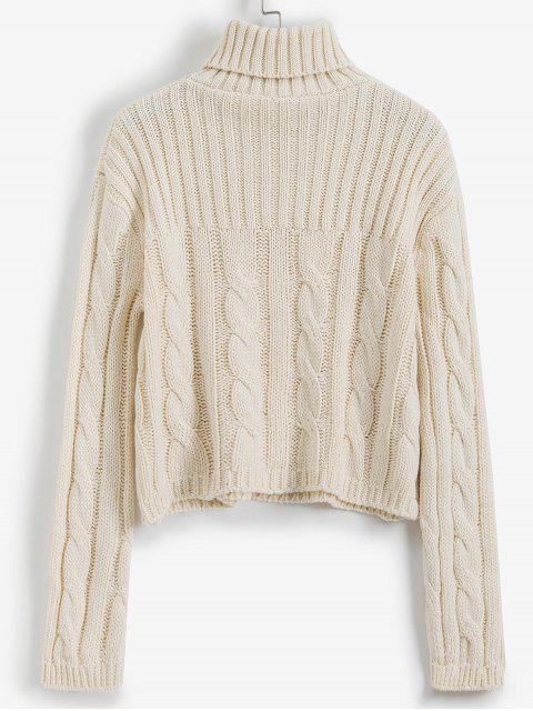 Cable de punto de cuello alto suéter flojo - Blanco Talla única Mobile