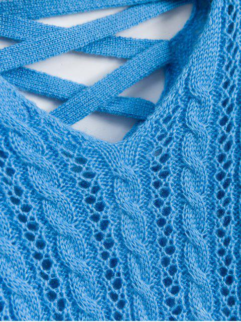 chic Lattice Open Knit Cable Knit V Neck Sweater - DEEP SKY BLUE ONE SIZE Mobile