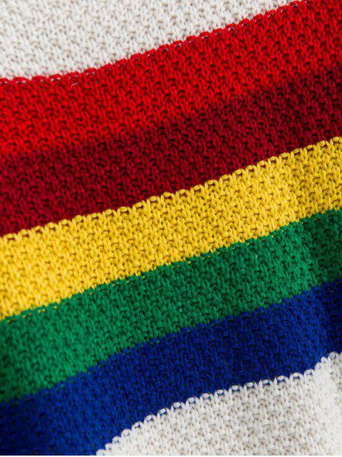 Cuello de equipo gota del hombro del arco iris rayas suéter - Blanco Talla única Mobile