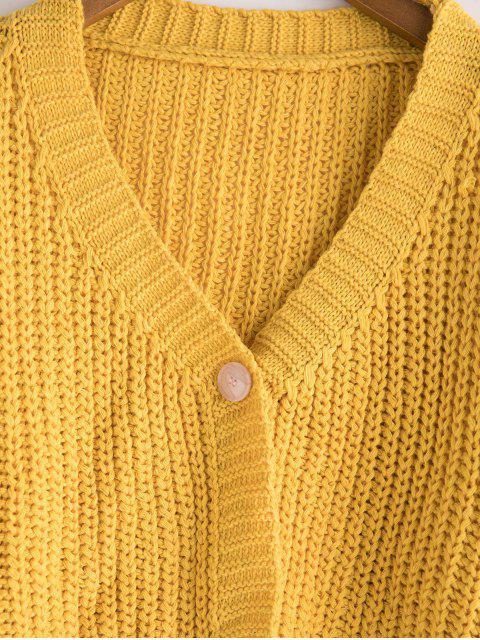 Una suelta recortada abotonado Chunky Cardigan - Amarillo Talla única Mobile