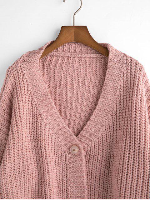 Lose Zugeschnitte Ein Knopf Klobige Strickjacke - Rosa Eine Größe Mobile