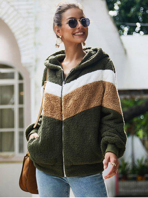 Kontrast Reißverschluss Faux Pelz Kapuze Jacke - Grün S Mobile