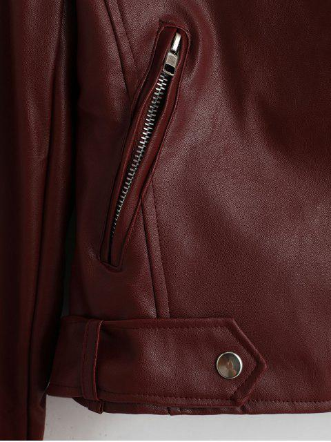 outfits Belted Zip Up Zippered Pockets Biker Jacket - RED WINE S Mobile