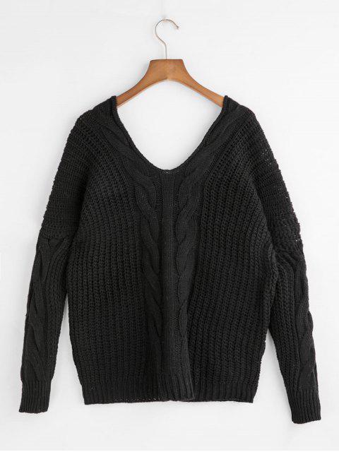 落肩雙V電纜針織衫 - 黑色 One Size Mobile