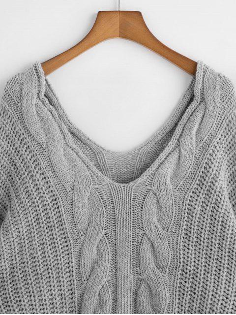 new Drop Shoulder Double V Cable Knit Sweater - GRAY ONE SIZE Mobile