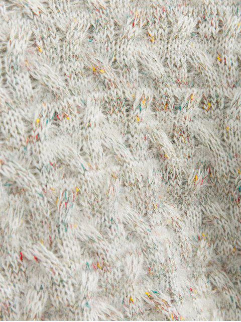 模擬領模糊Heathered縫毛衣 - 多-A One Size Mobile