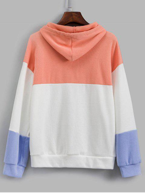 outfit Color-blocking Drop Shoulder Knitted Hoodie - MULTI-A ONE SIZE Mobile