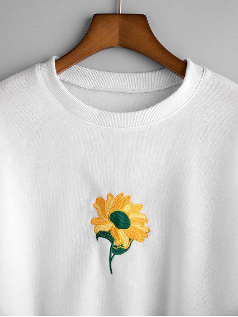 Sweatshirt mit Sonnenblume Stickerei und Drop Schulter - Weiß S Mobile