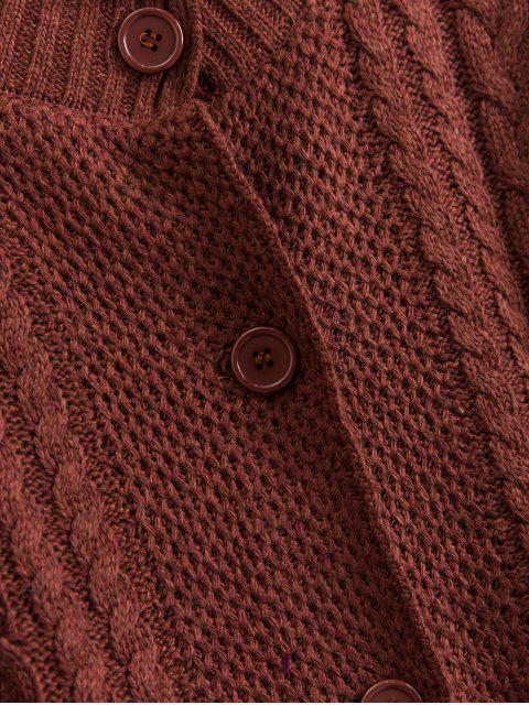 模擬頸部按鈕前端電纜針織開襟衫 - 棕色 One Size Mobile
