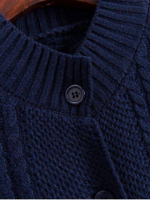 模擬頸部按鈕前端電纜針織開襟衫 - 午夜藍 One Size Mobile