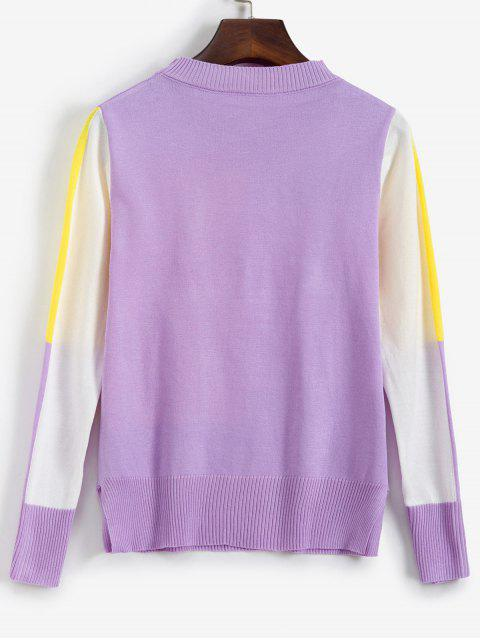 shop Side Slit Patchwork Sweater - PURPLE ONE SIZE Mobile