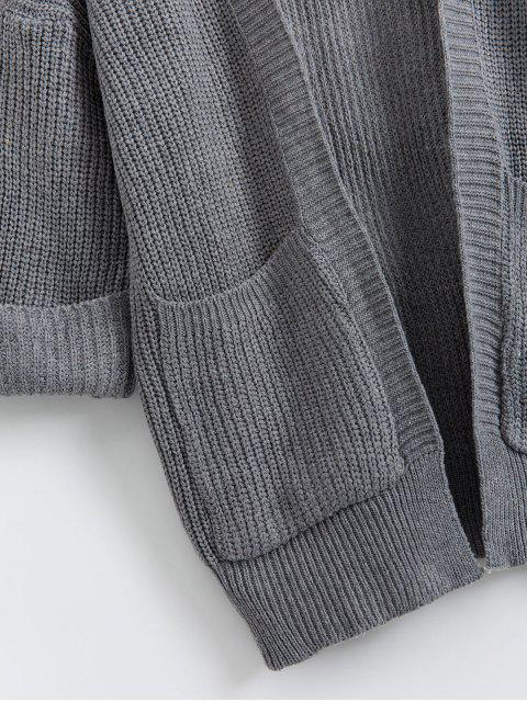 打開前翻邊袖雙口袋外套 - 深灰色 One Size Mobile