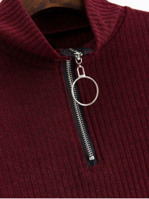women Slogan Graphic Half Zip Ribbed Cropped Knitwear - FIREBRICK S Mobile