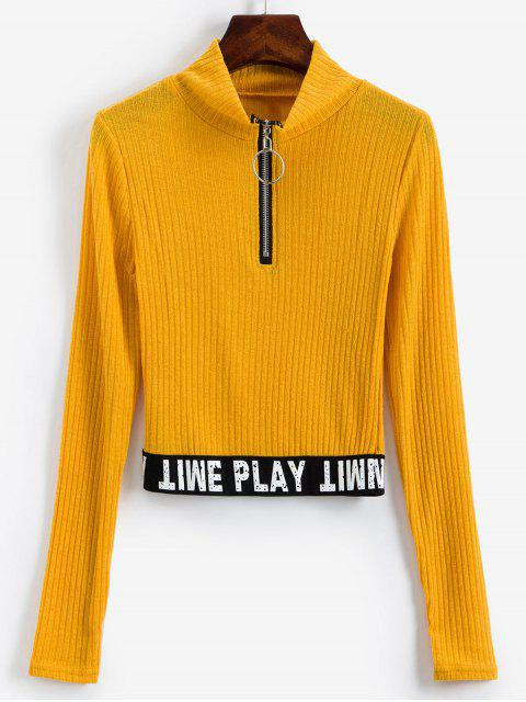 trendy Slogan Graphic Half Zip Ribbed Cropped Knitwear - YELLOW S Mobile