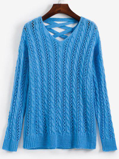 Lattice Open Knit Cable Knit V Neck Sweater - Deep Sky Blue