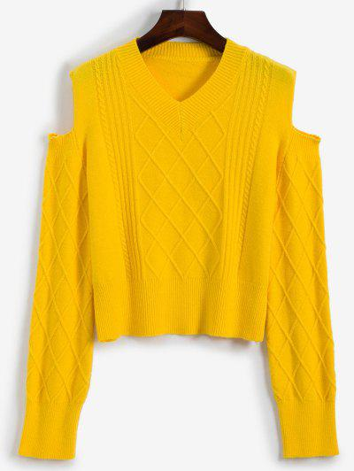 V Neck Cable Knit Cold Shoulder Sweater - Yellow