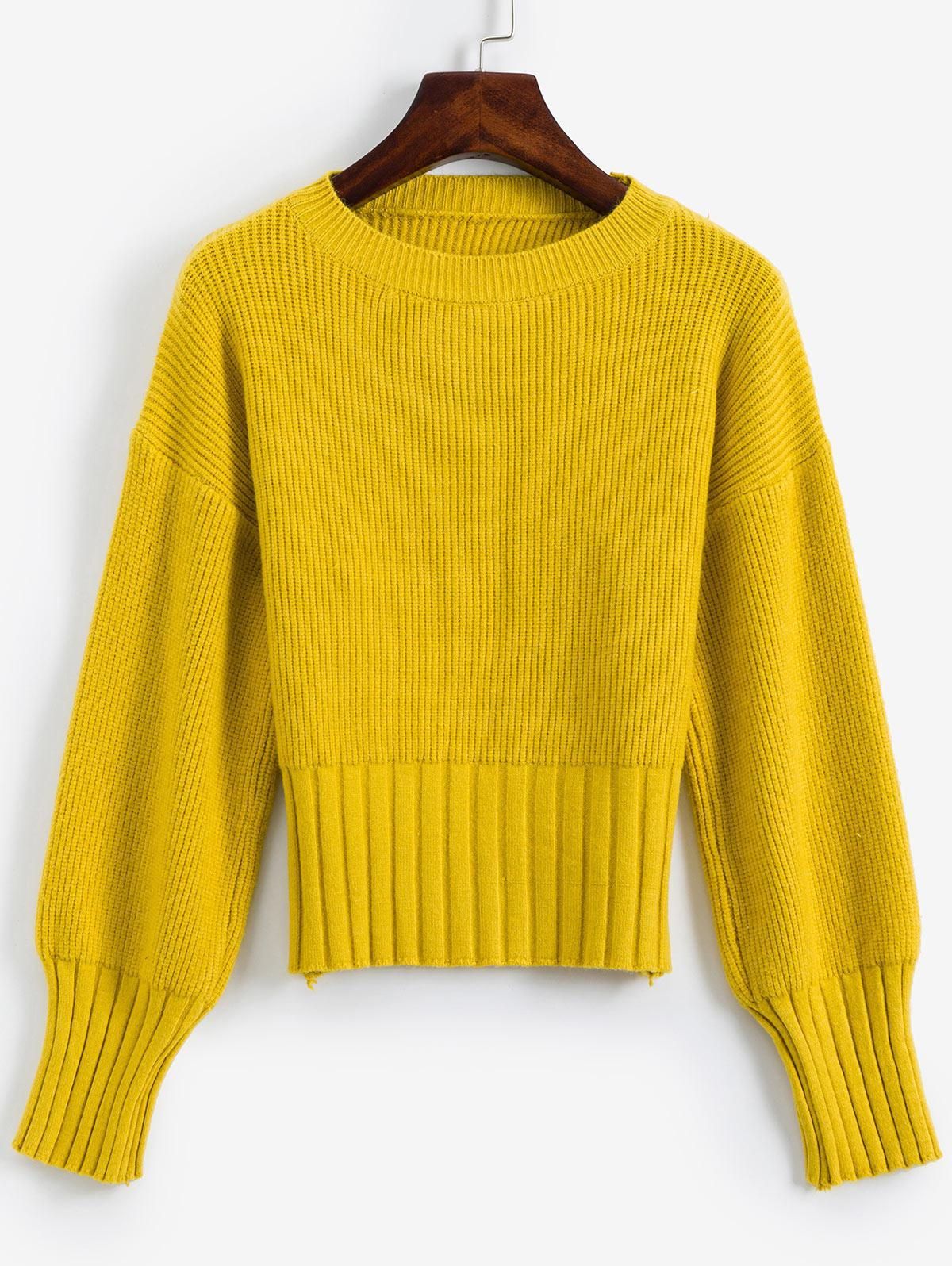 Solid Crew Neck Drop Shoulder Sweater thumbnail