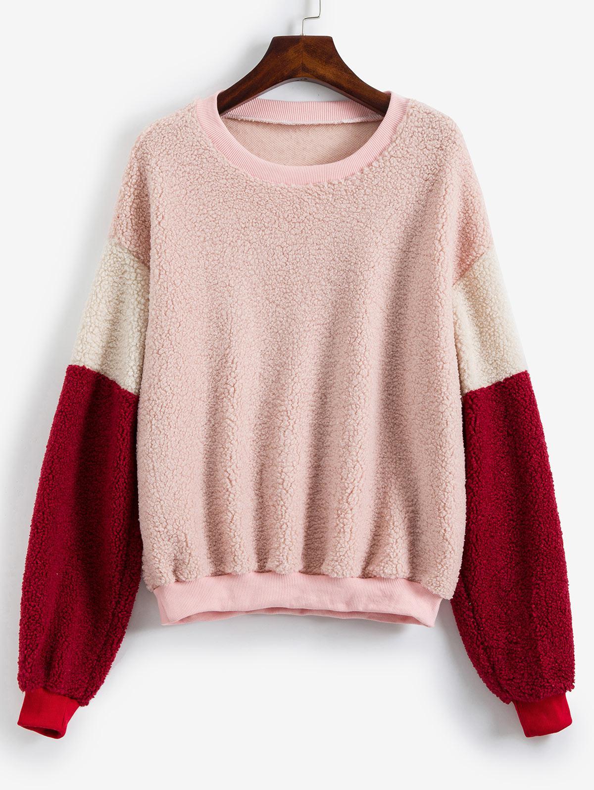 Ribbed Trim Drop Shoulder Colorblock Teddy Sweatshirt