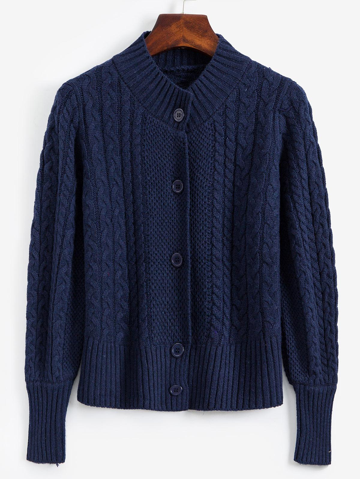 Mock Neck Button Front Cable Knit Cardigan