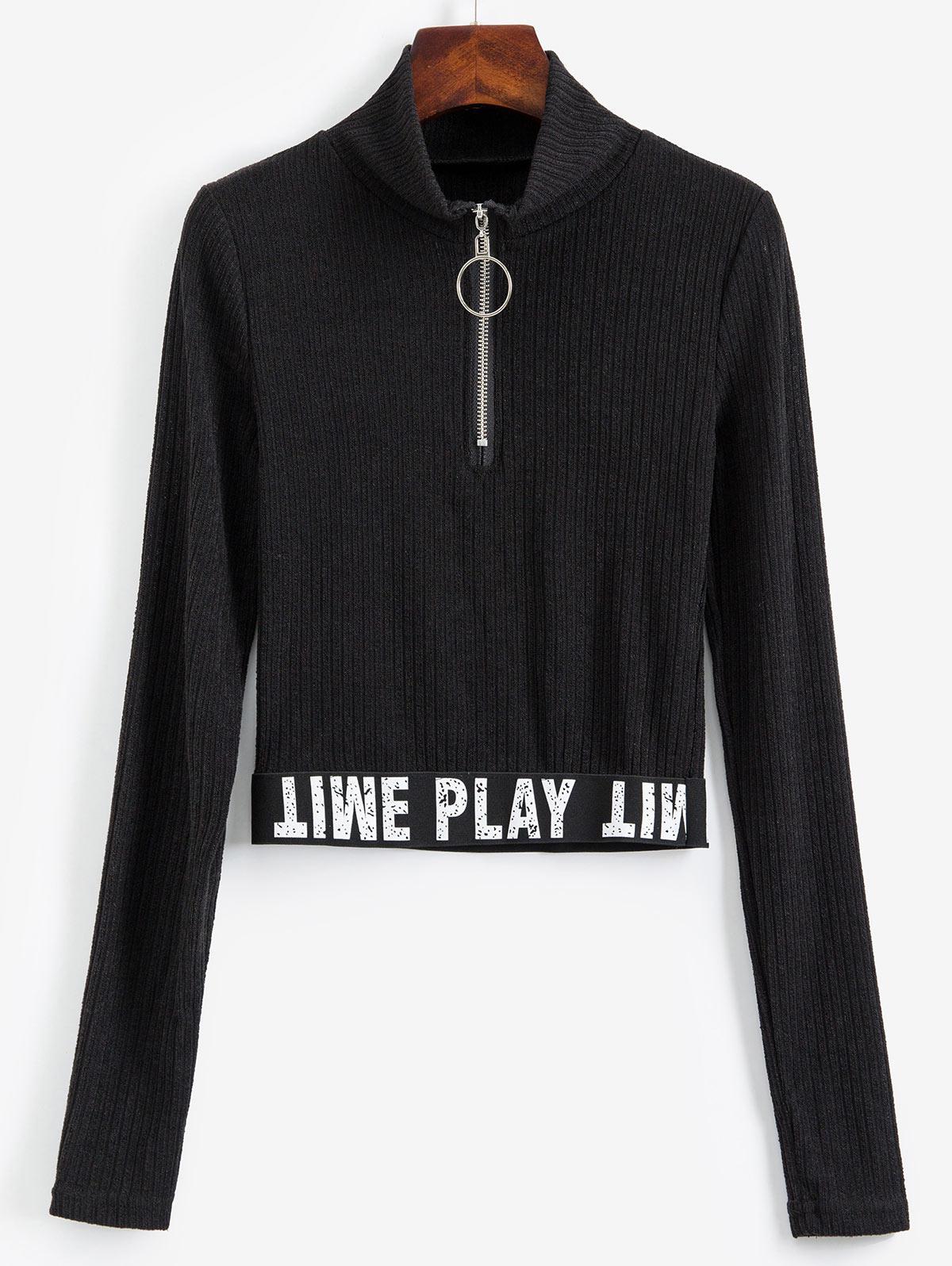 Slogan Graphic Half Zip Ribbed Cropped Knitwear