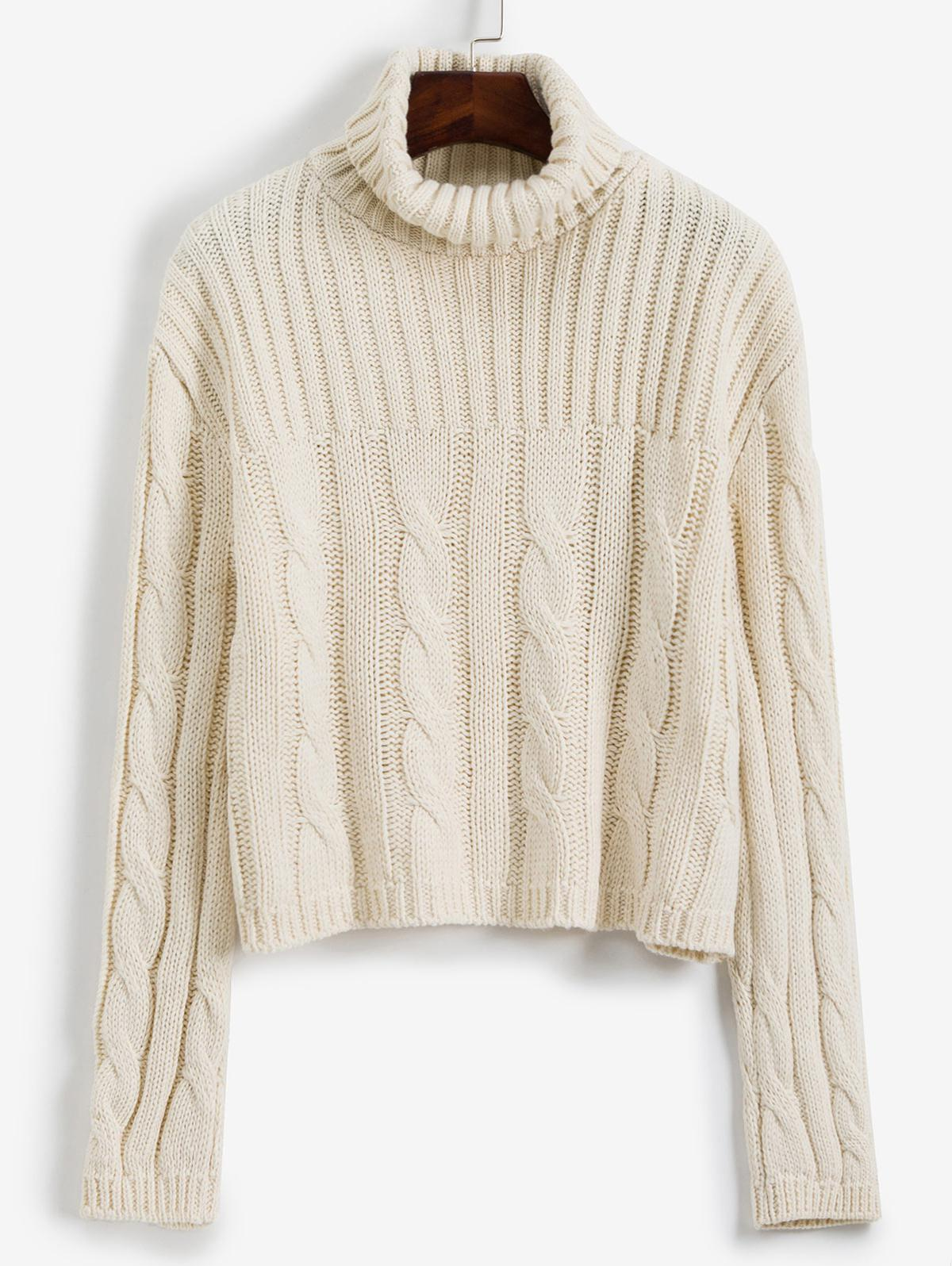 Turtleneck Cable Knit Loose Sweater