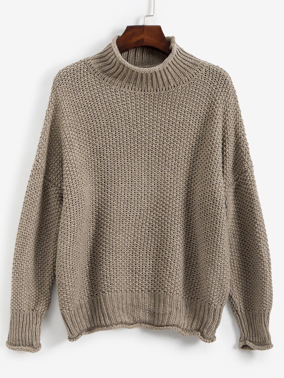 Drop Shoulder Rolled Edge Mock Neck Sweater thumbnail