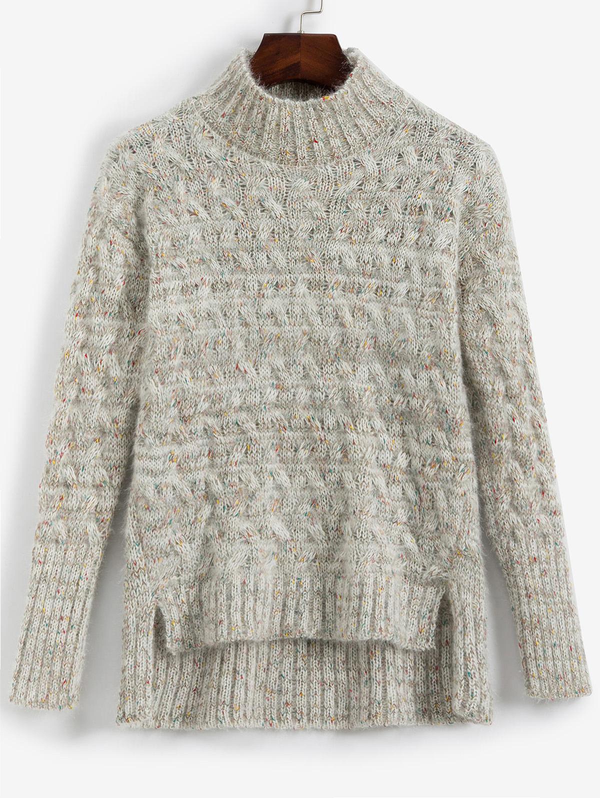 Mock Neck Fuzzy Heathered Slit Sweater