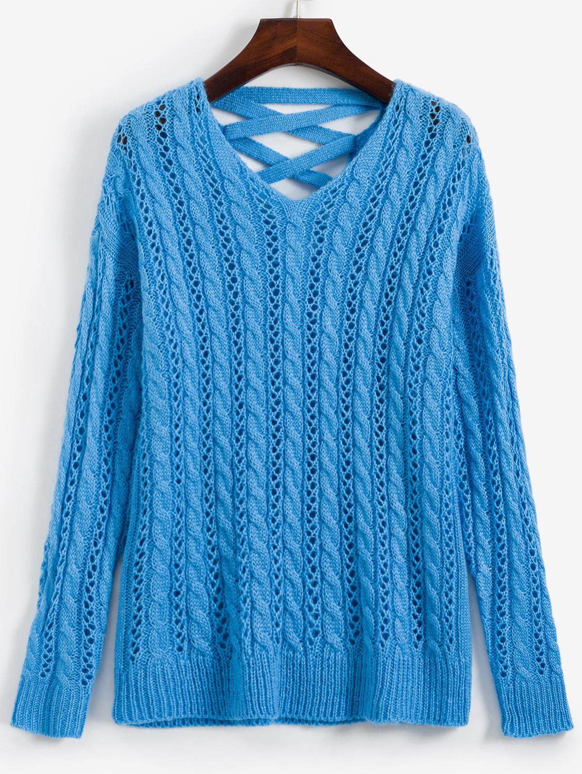 Lattice Open Knit Cable Knit V Neck Sweater