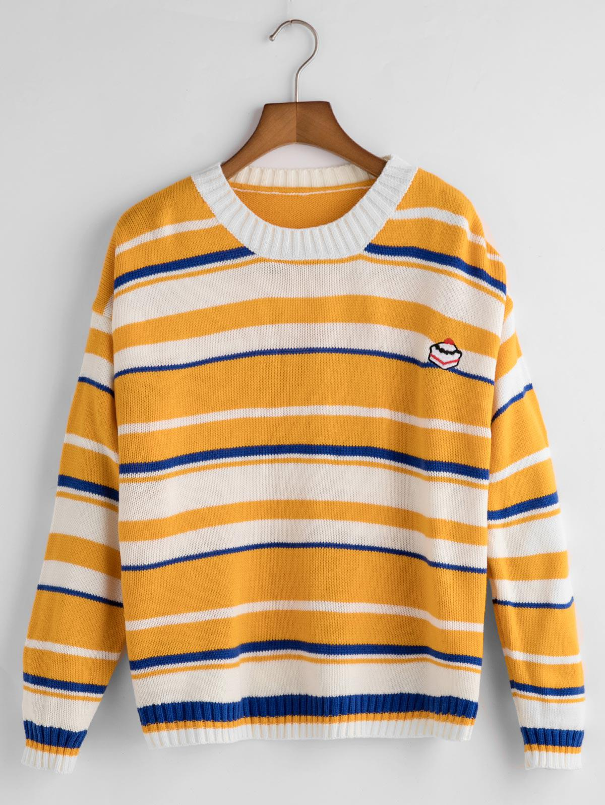 Funny Embroidery Striped Sweater