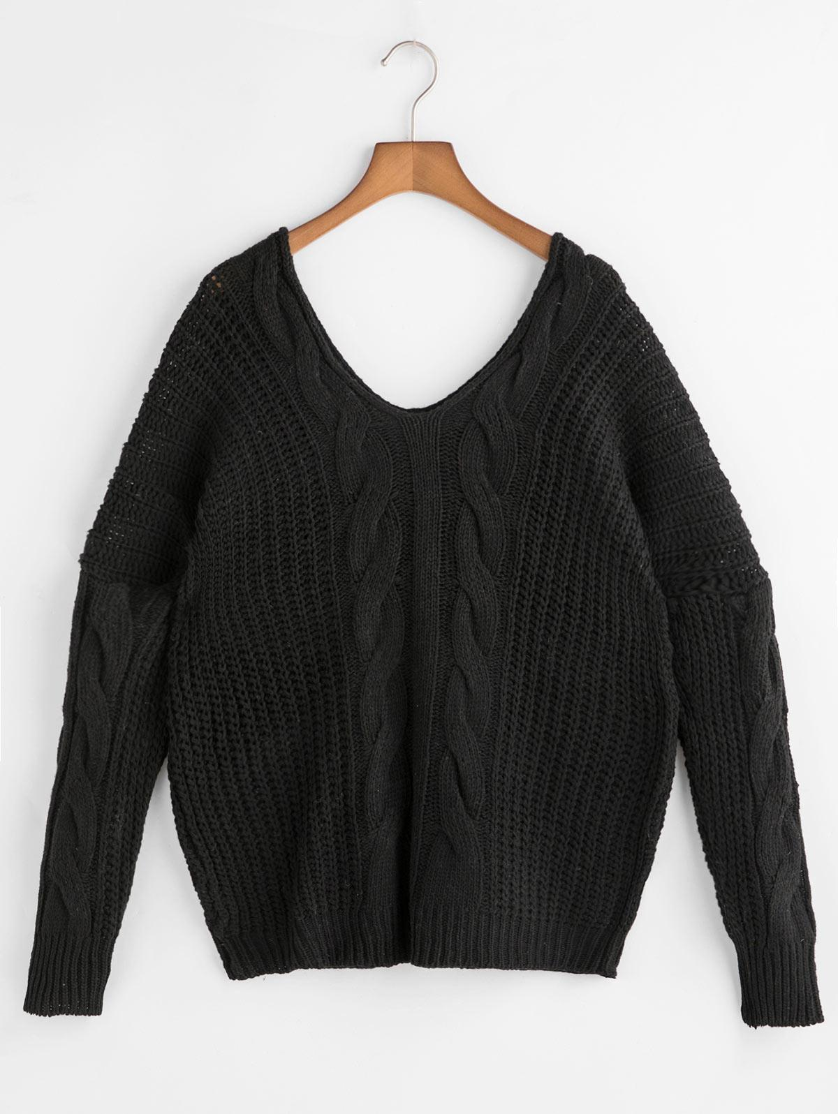 Drop Shoulder Double V Cable Knit Sweater