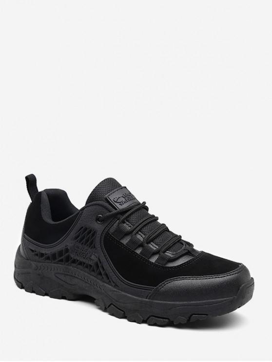 women's Suede Panel Outdoor Low Top Hiking Shoes - BLACK EU 43