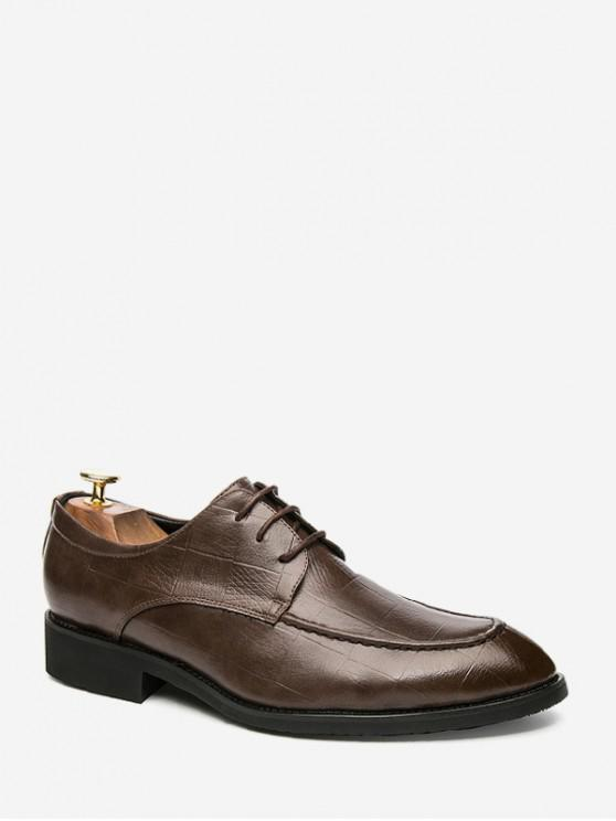 affordable Square Embossed Brushed Pointed Toe Work Shoes - DEEP BROWN EU 42