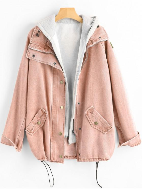 womens Button Up Denim Jacket and Hooded Vest - PIG PINK 2XL