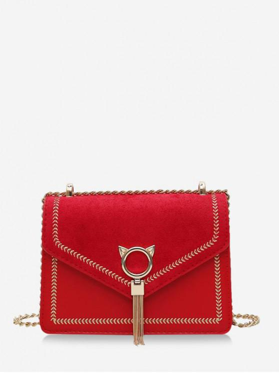 unique Cat Tassel Chain Cover Crossbody Bag - RED