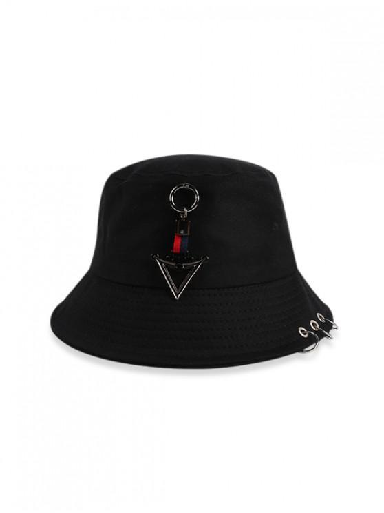 Chapeau Seau Décontracté Bague Triangle - Noir