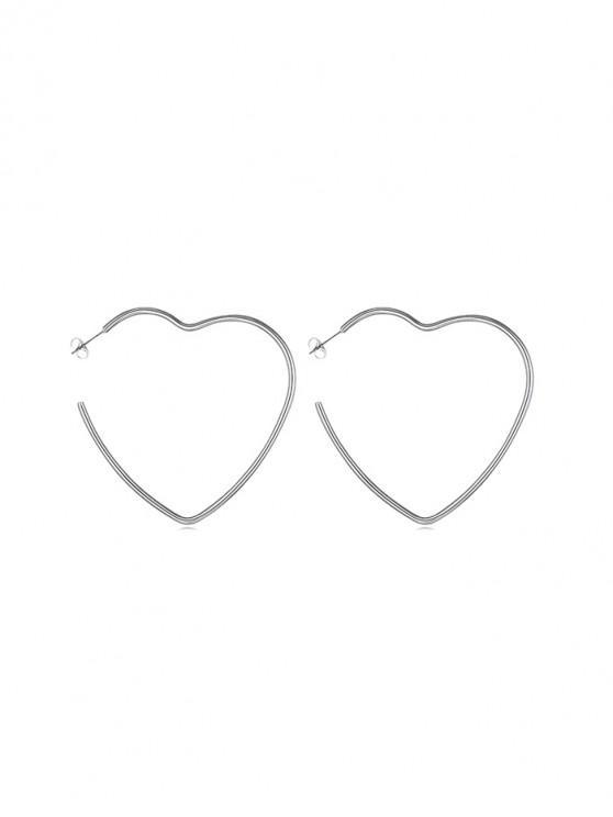 buy Heart Round Star Stud Earrings - SILVER HEART