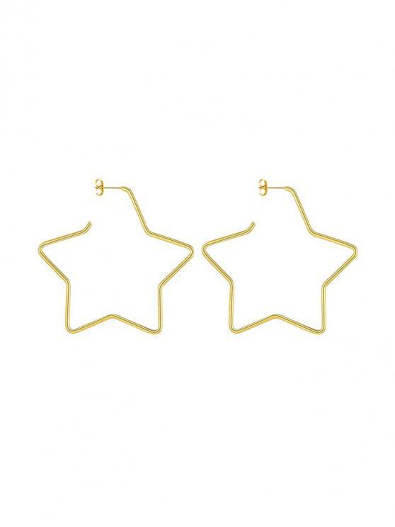 women's Heart Round Star Stud Earrings - GOLD STAR